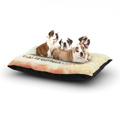 East Urban Home iRuz33 'Cali Love' Dog Pillow with Fleece Cozy Top Size: Large (50