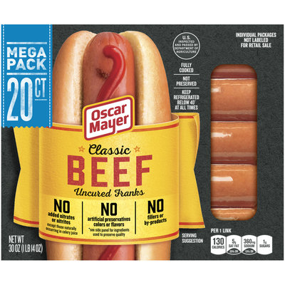Oscar Mayer Classic Beef Uncured Franks 20 ct Pack