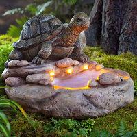 Wind & Weather Turtle Birdbath with Solar Lights Statue