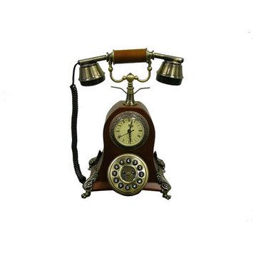 ORE International Classic Telephone with Clock - Mahogany