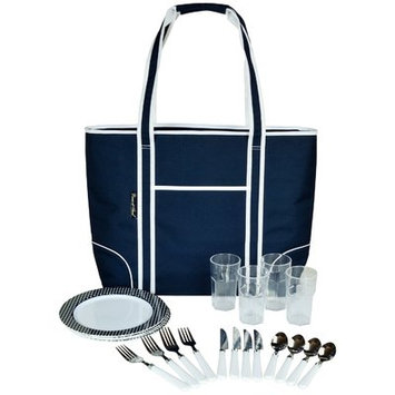 Picnic At Ascot Insulated Picnic Tote for Four Color: BlueWhite