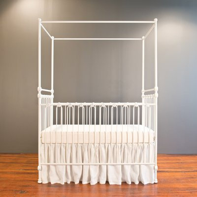 Bratt Decor Joy Canopy Crib with Mattress Finish: White