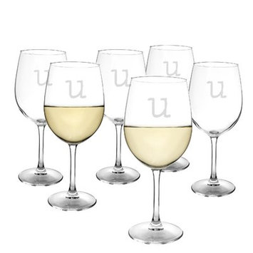 Latitude Run Metz Personalized 12 Oz. White Wine Glass Letter: U