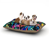 East Urban Home Gabriela Fuente 'Flora Splash' Dark Dog Pillow with Fleece Cozy Top Size: Small (40