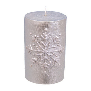 The Holiday Aisle Snowflake Pillar Candle Size: 4