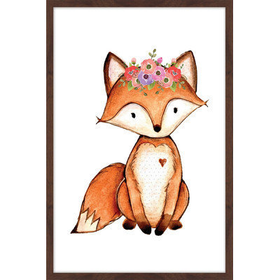 Marmont Hill Inc Marmont Hill - 'Flower Fox' by Shayna Pitch Framed Painting Print