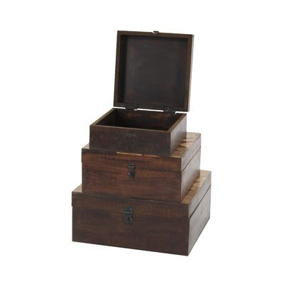 Benzara Resplendant Pattern Parque Box In Wood, Set Of 3