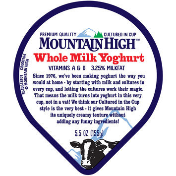 Mountain High™ Peach Whole Milk Yoghurt 5.5 oz. Cup