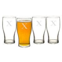 Alcott Hill Goldenberg 19 oz 4 Piece Beer Pilsner Glass Set Letter: X