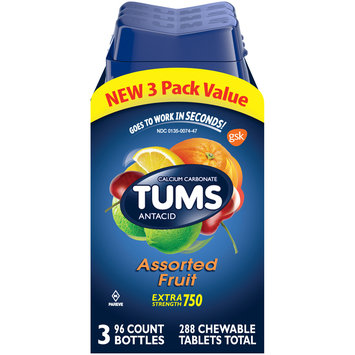 Tums® Extra Strength 750 Assorted Fruit Antacid Chewable Tablets 3-96 ct Bottles