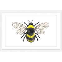Marmont Hill Inc Marmont Hill - 'Bumble Bee' by Thimble Sparrow Framed Painting Print