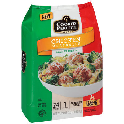 Cooked Perfect® Brand Chicken Meatballs 24 oz. Bag