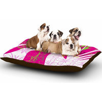 East Urban Home Pattern Muse 'Fruit Birds' Magenta Dog Pillow with Fleece Cozy Top