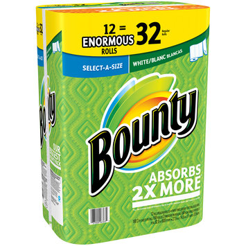 Bounty Select-A-Size Paper Towels, White, 12 Enormous Rolls = 32 Regular Rolls