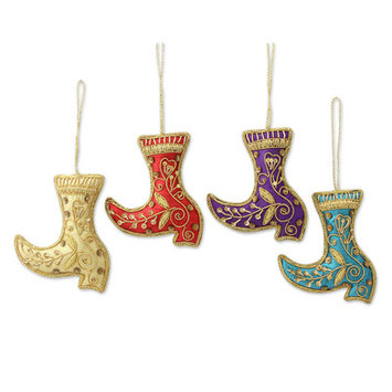 Novica Holiday Boot Ornaments with Gold Embroidery Ornament
