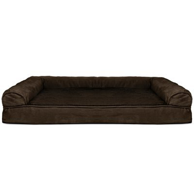 Zoey Tails Plush and Suede Memory Bolster Color: Espresso, Size: 10