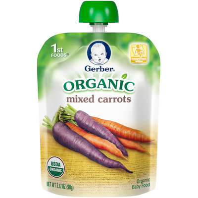 Gerber® Organic 1st Foods® Mixed Carrots 3.17 oz. Pouch (Pack of 12)
