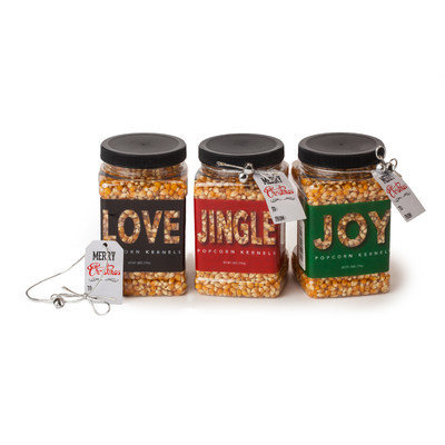 Wabash Valley Farms 3 Piece 28 oz. Gourmet Popping Corn Holiday Jar Set