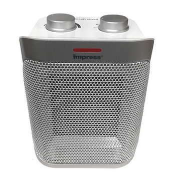 Crystal Promotions impress 970102846M Ceramic Heater with Thermostat, Metallic Silver