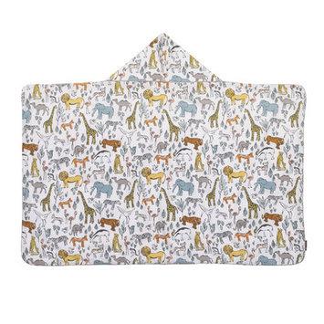 Dwellstudio Caravan Printed Percale/Solid Woven Terry Hooded Bath Towel
