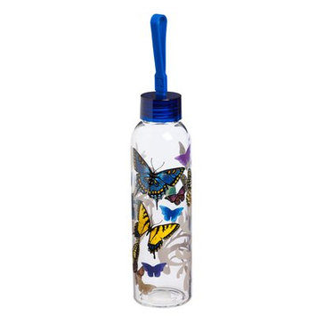 August Grove Riverview Flight of the Butterflies 18 oz. Glass Water Bottle