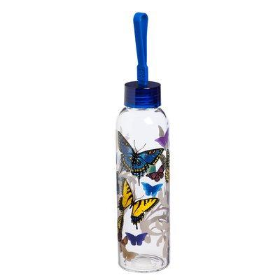 August Grove Riverview Flight of the Butterflies 18 oz. Glass Water Bottle