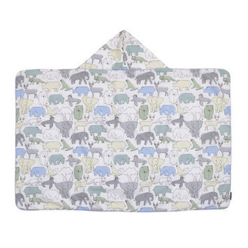 Dwellstudio Arden Printed Percale/Solid Woven Terry Hooded Bath Towel