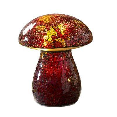 Plow & Hearth Glass Mosaic Mushroom Lawn Ornament, Red