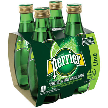 PERRIER Sparkling Natural Mineral Water, Lime 11.15-ounce glass bottles