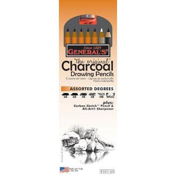 General & S General's Charcoal Drawing Pencils Set set of 6 charcoal pencils