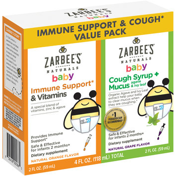 Zarbee's Naturals Baby Immune Support* & Cough Syrup + Mucus Value Pack, 4 fl. oz. total Box