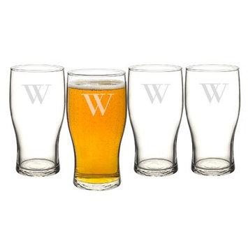 Alcott Hill Goldenberg 19 oz 4 Piece Beer Pilsner Glass Set Letter: W