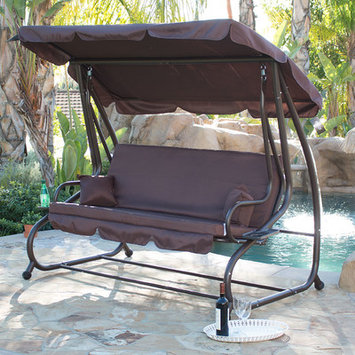 BELLEZZAc Porch Swing Outdoor Bed Hammock with Steel Frame, Adjustable Tilt Canopy, Dark Brown