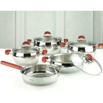 Hisr Monaco 9 Piece Stainless Steel Cookware Set Color: Red