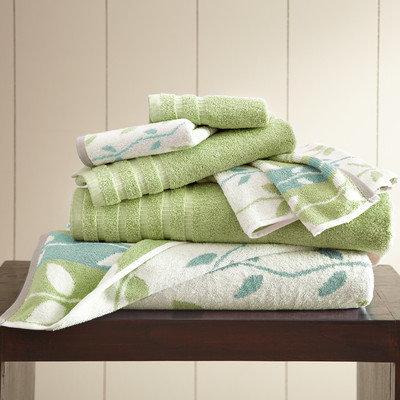 Three Posts Vines 6 Piece Towel Set Color: Sage Green