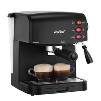 VonShef 15 Bar Pump Espresso Coffee Maker Machine - Create Espressos, Lattes, Cappuccinos & More!