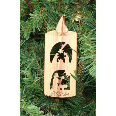 Earthwoodllc Olive Wood Candle Ornament with 2 Scenes