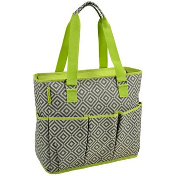 Picnic at AscotLarge Insulated Multi Pocketed Travel Bag with 6 exterior pockets- Grey/Green (541-DG)