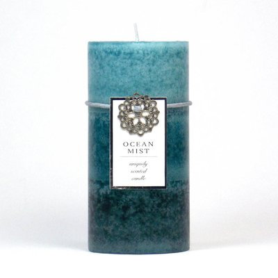 Highland Dunes Ocean Mist Scented Pillar Candle Color: Blue, Size: 3