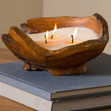 Foundry Select Handcrafted Teak Wood Bowl Unscented Novelty Candle