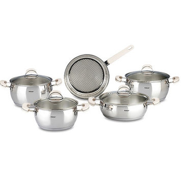 Hisr Monaco 9 Piece Stainless Steel Cookware Set Color: Ivory