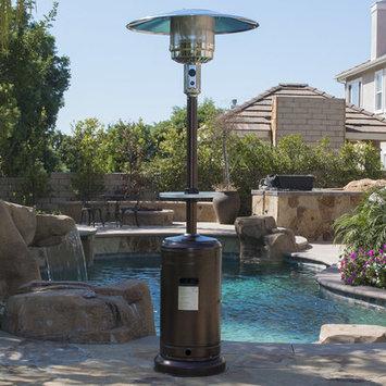 Belleze© Patio Heater Propane with Adjustable Table, Hammered Tone Bronze -48,000BTU