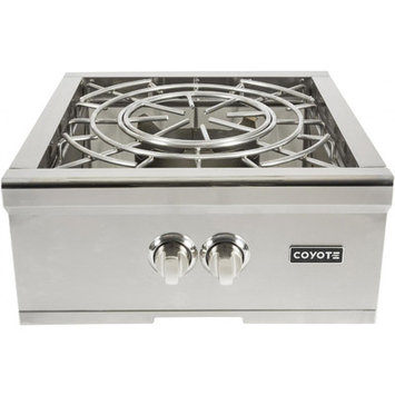 Coyote C1PBLP 24 Inch Built-in Power Burner with 60,000 Total BTU, Dual-Valve Burner, 1,000 BTU Simmer Performance, 304 Grade Stainless Steel Body and Stainless Steel Lid: Liquid Propane