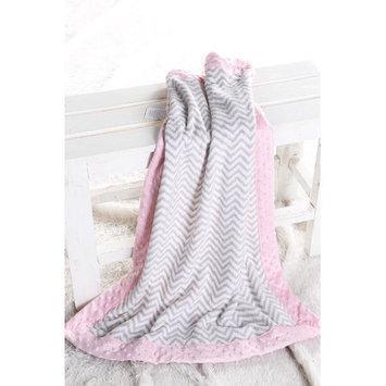 Harriet Bee Bairdstown Zigzag with Border Plush Blanket Color: Grey / Pink