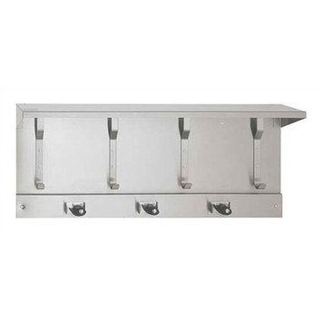 American Specialties Utility Hook Strip with Shelf and Mop Holders - Arrangement: 3 Mop Holders and 4 Utility Hooks