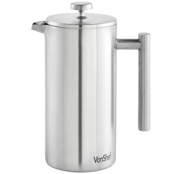 Vonshef 12 Cup Double-Wall Keep Warm Coffee Cafetiere Finish: Silver