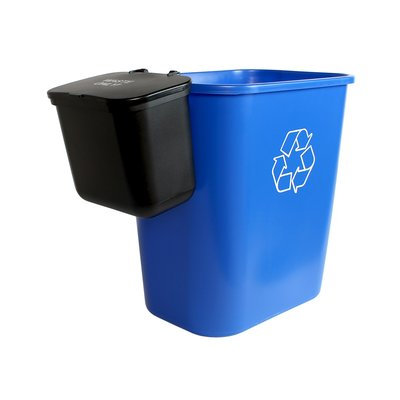 Busch Systems Office Combo Solid Lift 93 Gallon 2 Piece Recycling Bin and Waste Basket Set