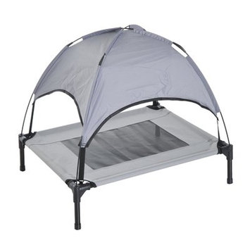 Pawhut 30' Elevated Cooling Dog Bed Cot w/ Canopy Shade - Gray