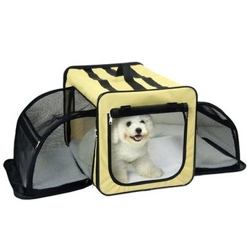 Pet Life Capacious Dual-Expandable Wire Dog Crate Khaki