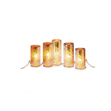 The Holiday Aisle 5 Piece Wonderlights Christmas Pillar Candle Set Color: Gold